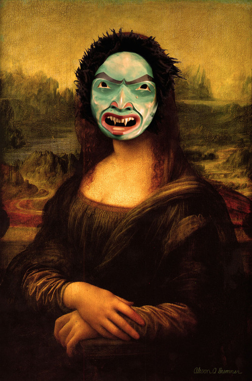 "Mona Lisa Smile  , 2014, limited edition giclee, 27"" x 18"". Image via alisonobremner.com."