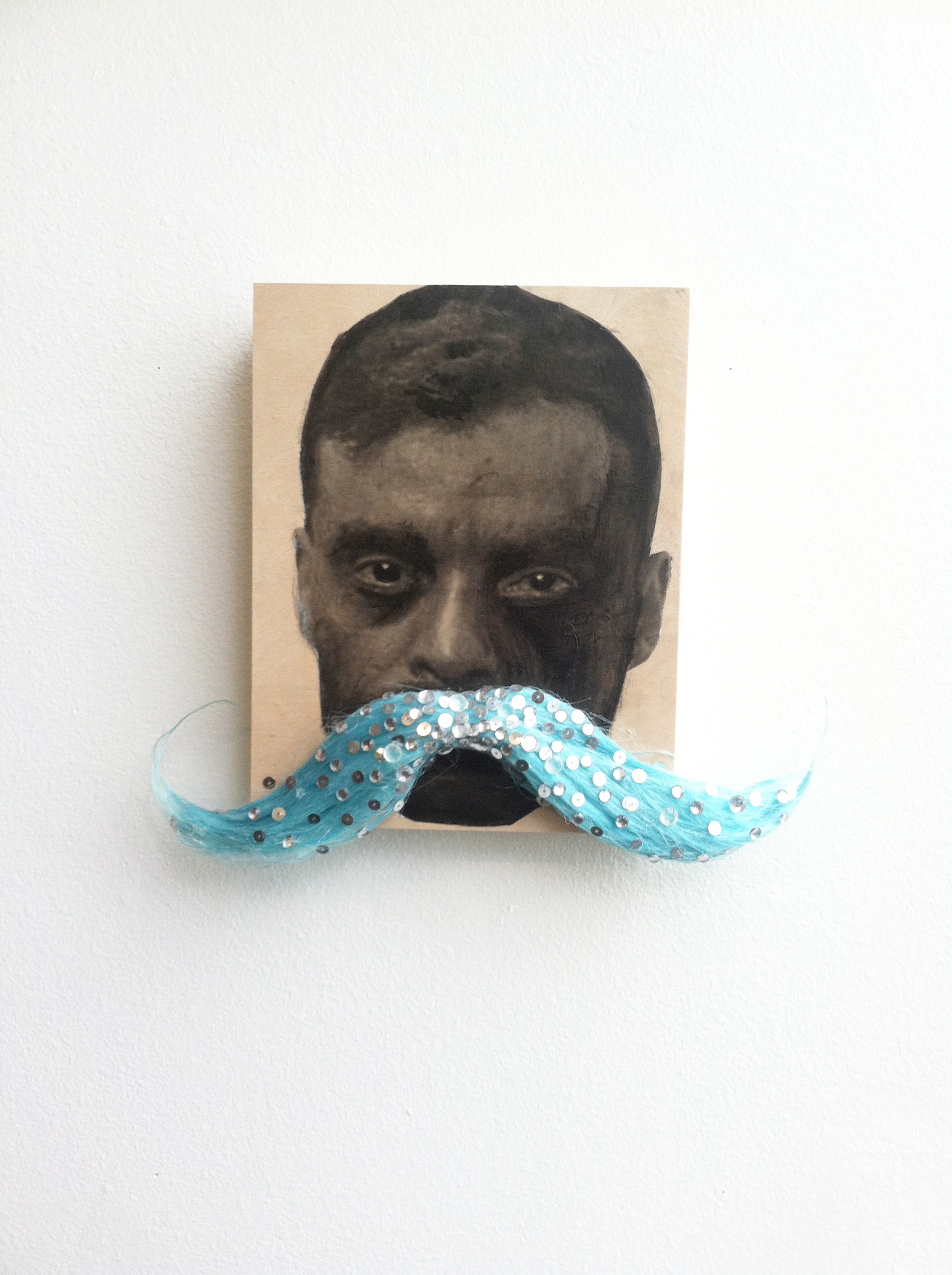Alexander Hernandez, Zapata, 2015, Embellished mustache, gel medium transfer on wood panel, hernalex.com