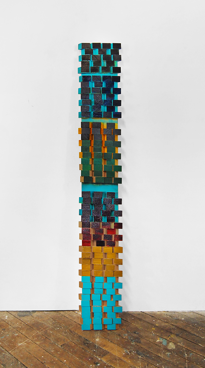 Eightbit 2 , 2015, Acrylic on wood collage, 72x12 inches