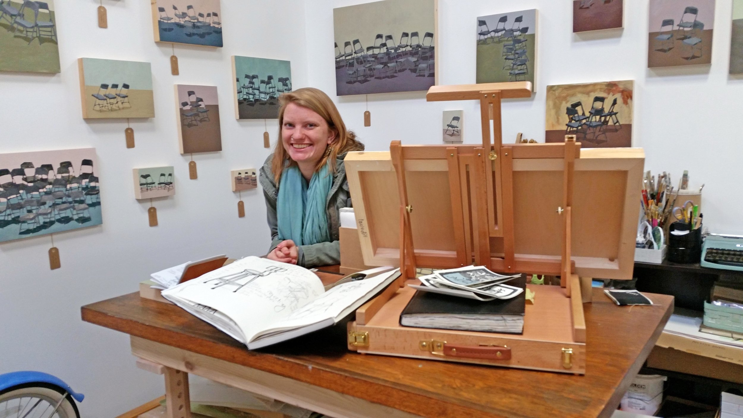 Lucia Dill in her studio at Makers Workspace in Berkeley, CA