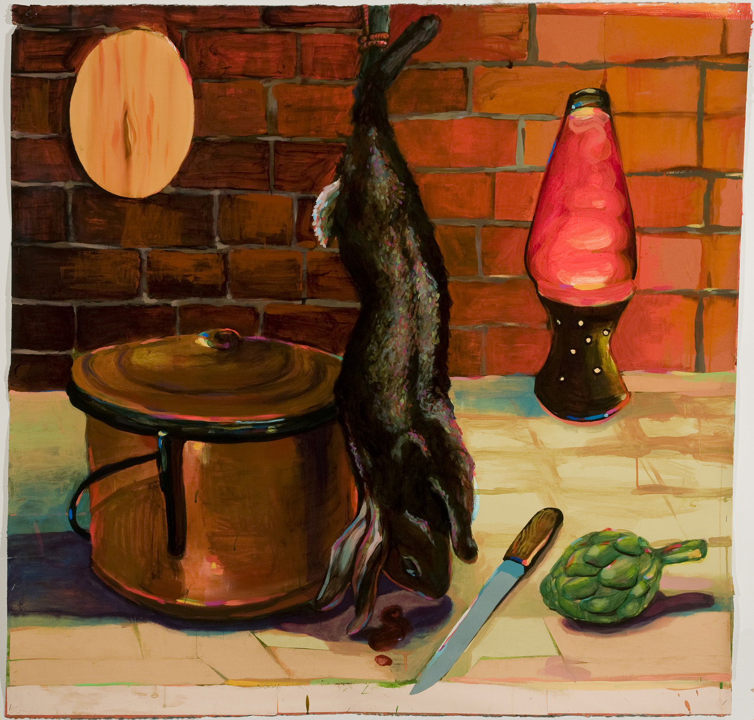 Rabbit, Copper pot, Lava Lamp , 2011  acrylic, ink, collage on paper  53 x 53 inches