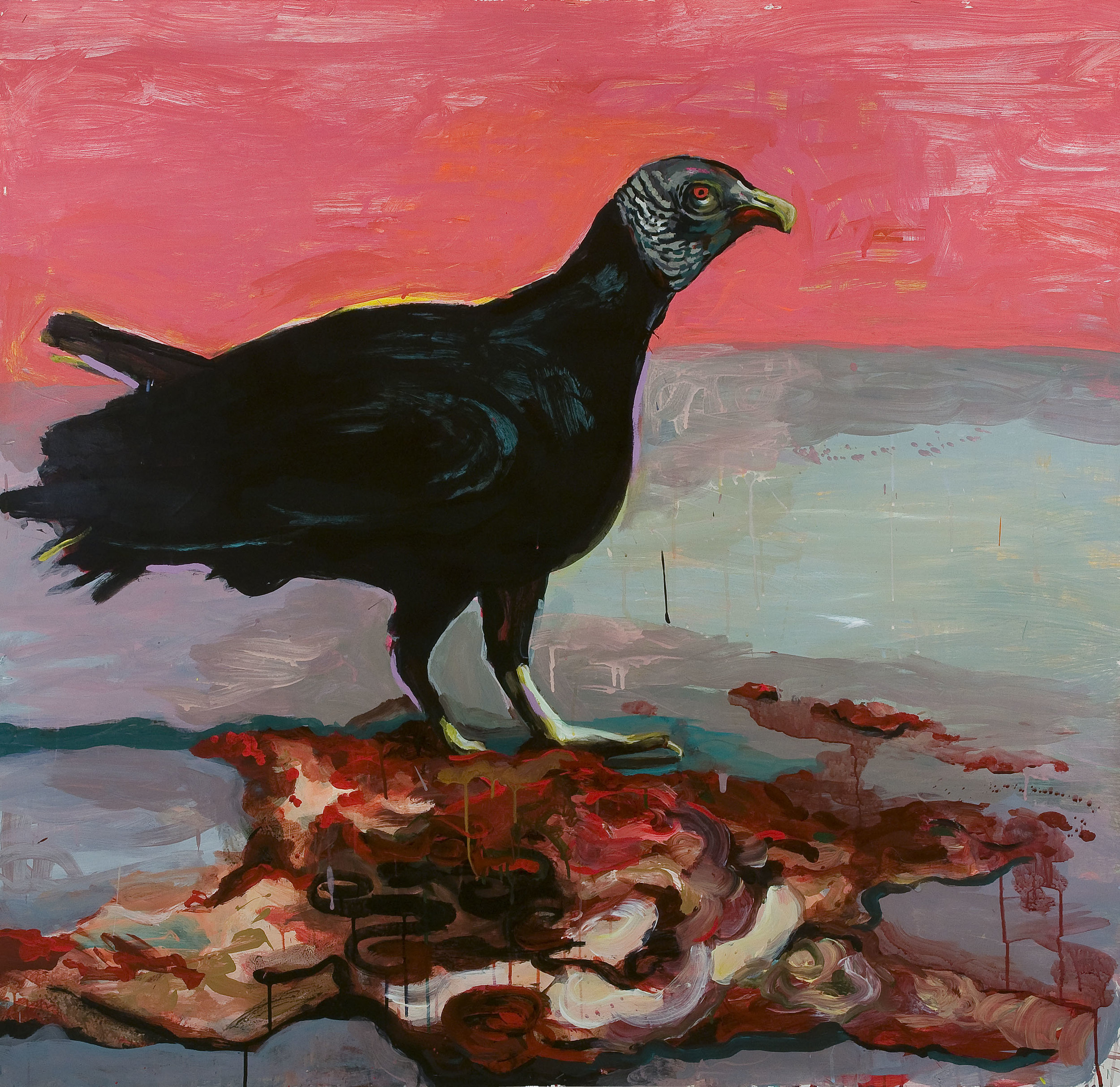 Vulture with Carcass , 2008, acrylic and ink on paper,54 x 51.5 inches