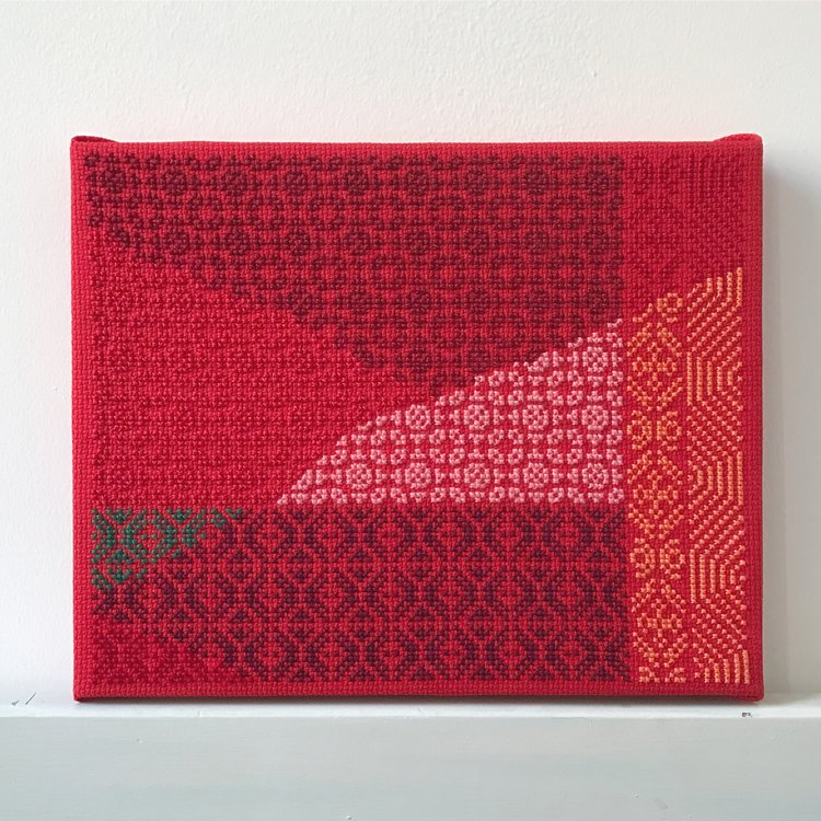 Study (at sunset as at sunrise), 2016, Hand-embroidery in cotton on Aida on canvas,8 x 10 Inches