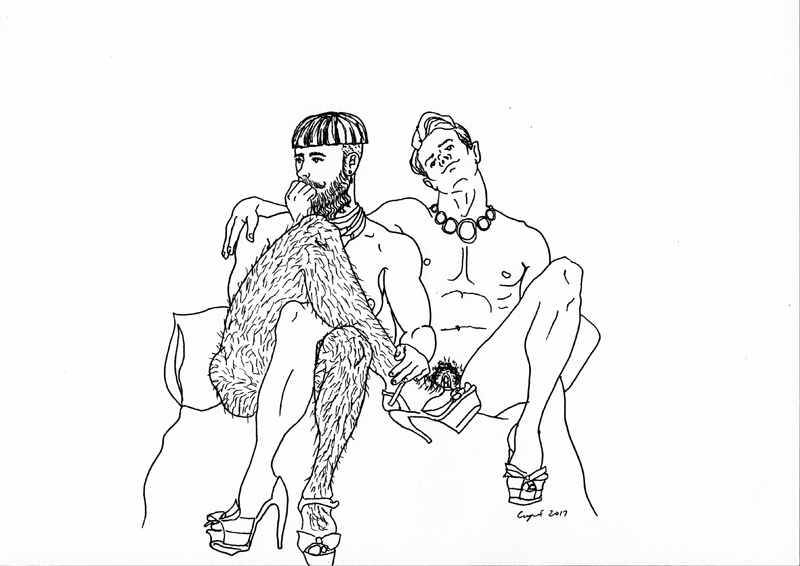 CUNT 2.14.2017 Legs for Days , 2017  pigma pen on paper   9 x 12 inches