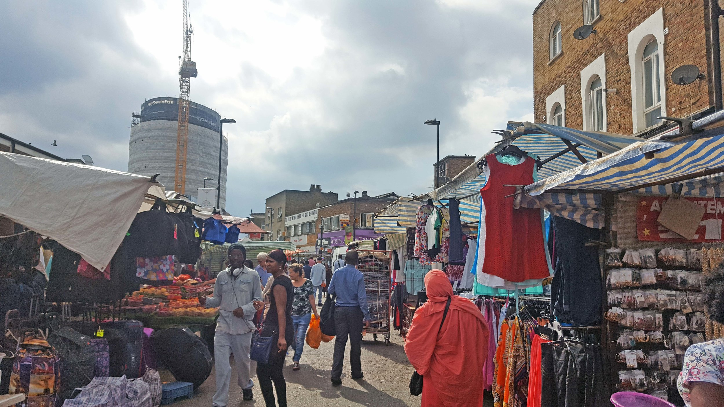 "Walking in the market in Dalston to Lakwena's studio on a ""sunny"" London day"