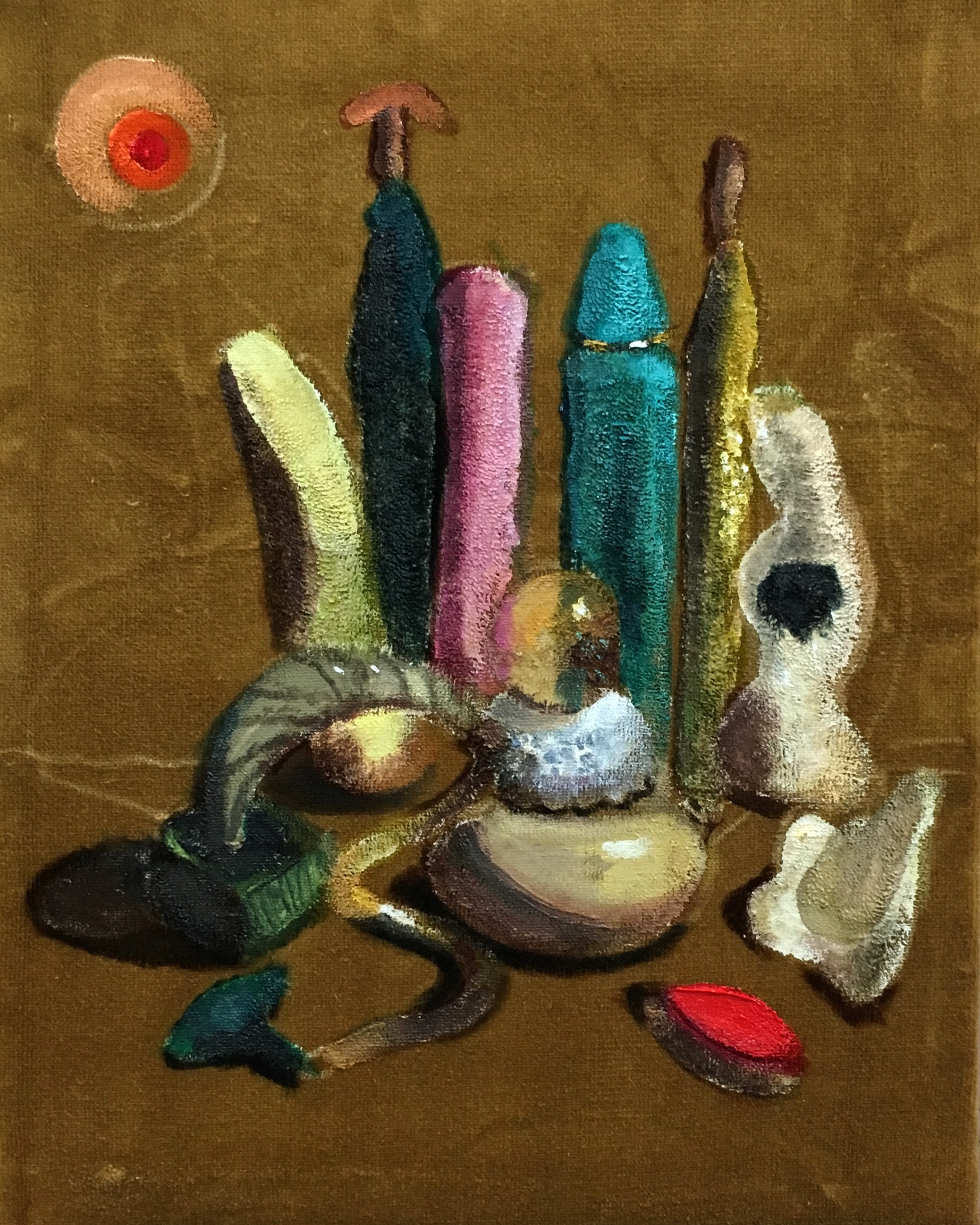 Gold Still Life 2   oil on velvet  11 x 14 inches