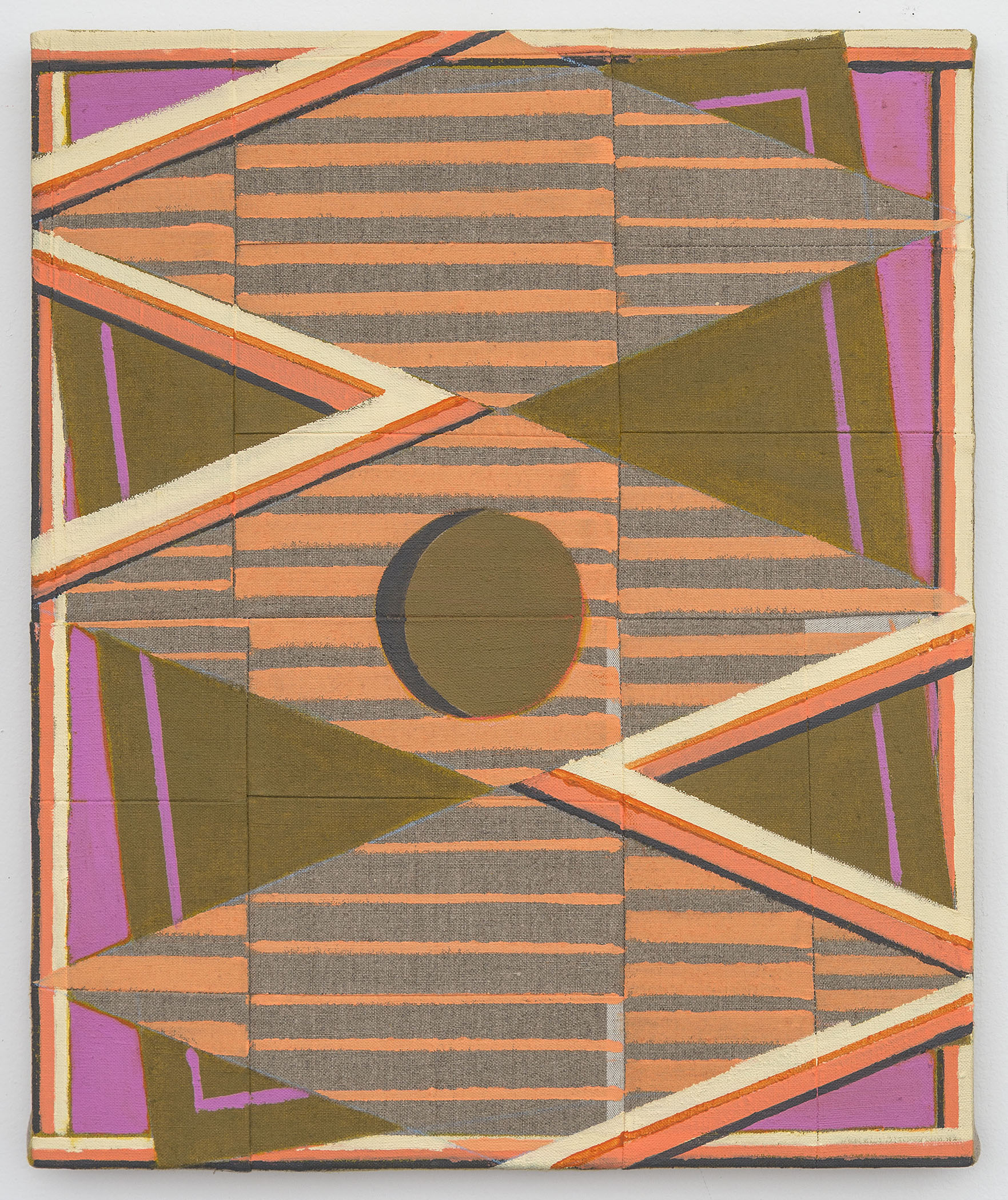 No. 39 (Give and Take), 2017  Acrylic on pieced and sewn linen  18 x 15 inches (45.7 x 38.1 cm)