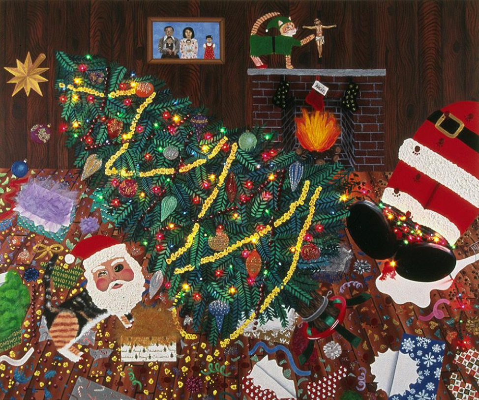 "Hein Koh, ""White X-mas"", acrylic, oil and mixed media on canvas, 86"" x 72"", 2003"