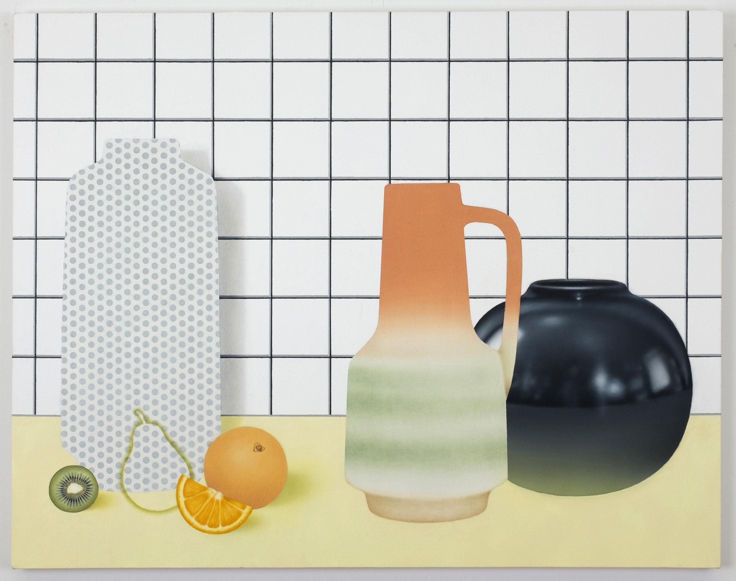 """An Orange, A Kiwi   Oil and acrylic on canvas  33""""x42"""""""