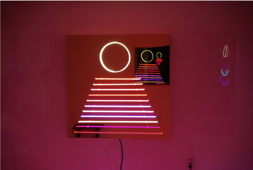 Evening  [install shot], Neon, Acrylic Mirror, on Wood Frame, 4' x 4'
