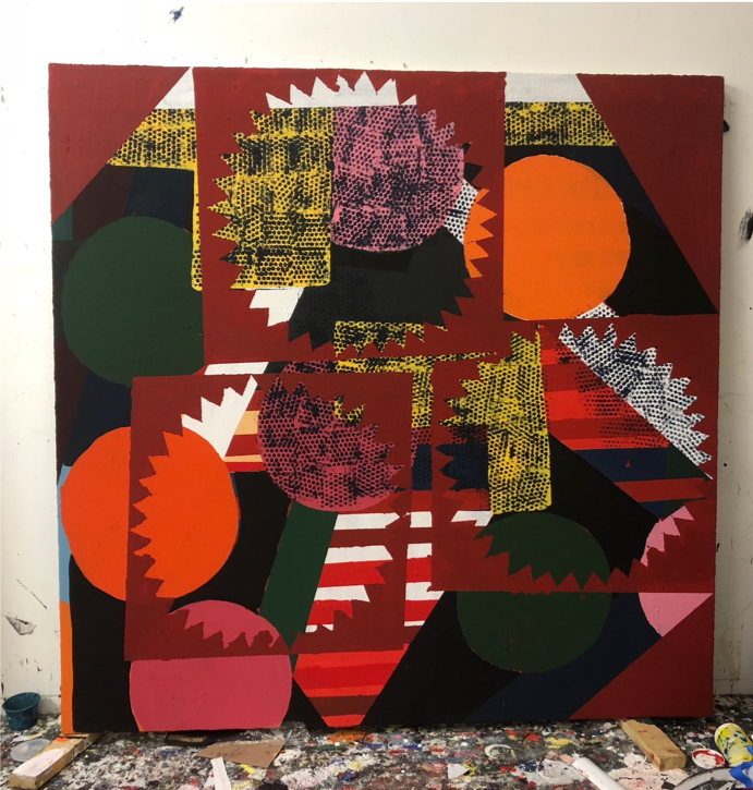 "alexandra , 2019, arcylic and marble dust on canvas, 86"" x 86"""