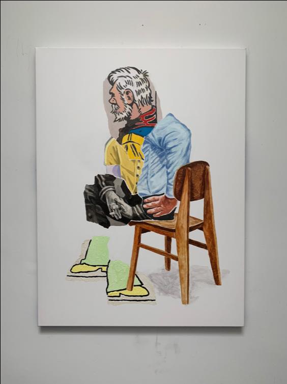 "Old man , 2019 Oil on canvas, 36"" x4 8"""