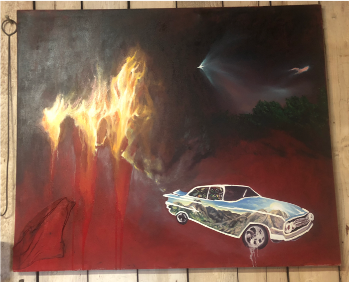 Drive Back: Ride into the sun/ American landscape series,  2018, oil paint, house paint, studio rag, 6' x 5'