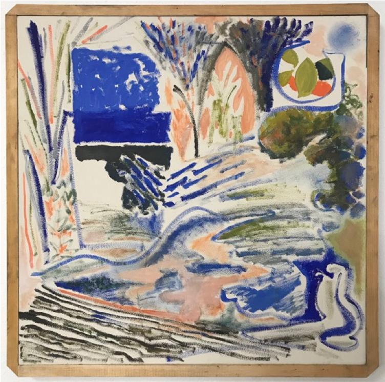 """Landscape , 2018, latex, oil, and enamel on panel in scrap pine frame, 24x24"""""""