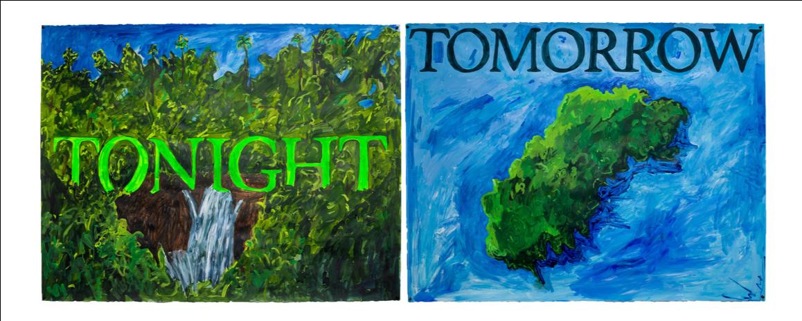 "tonight   tomorrow , 2019, acrylic and gouache on paper, 38"" x 101"""