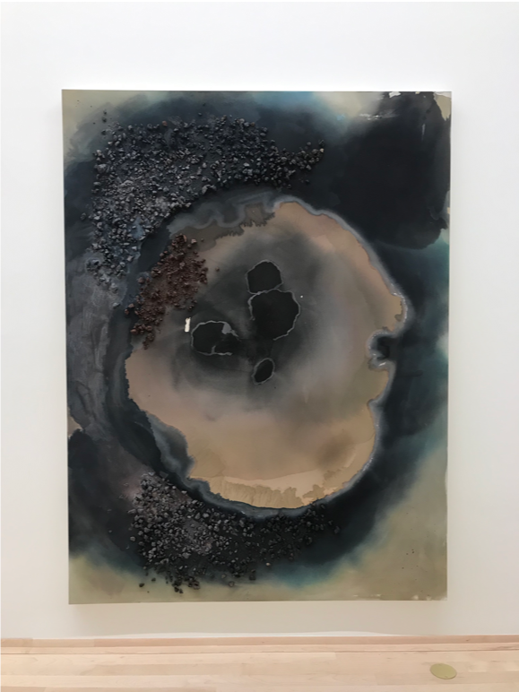 """Fossil Falls in Coso Range,  2019, Ink, arylic, and volcanic rock on canvas. 96"""" x 72"""""""