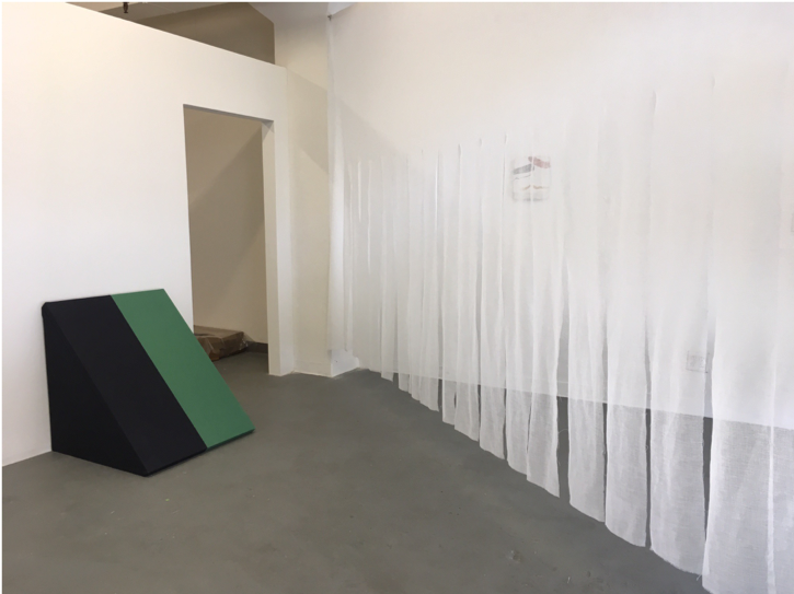 Floor to wall Two Stripes and Crossways Player with Strips , 2018 , fabric and wood, dimensions variable