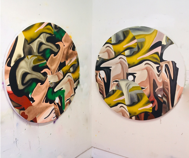 Left:  Double Decker,  2018, Acrylic on canvas, 46 inches  Right:  Dank Ass,  2018, Acrylic on canvas, 48 inches,