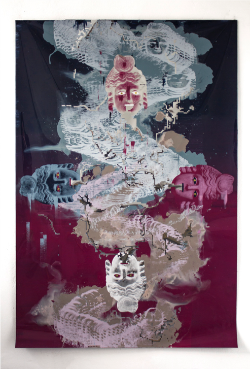 "Persephone (Samhain) , 2019, acrylic, custom code, and serigraph on polyester and mylar, 60"" x 40"""