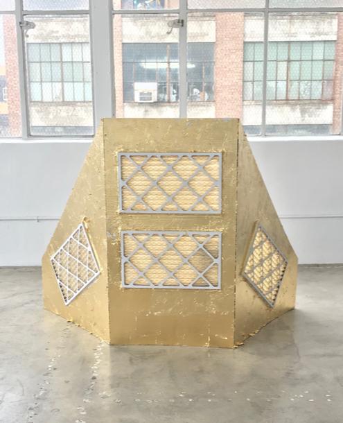 Air Filter Triptych,  cardboard, HEPA filters, aluminium, gold, 4' x 5' x 1.5'