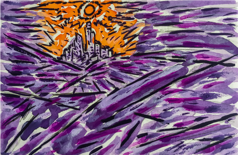 "City of the Sun , 2019, acrylic gouache, ink, and colored pencil on paper mounted on canvas, 4"" x 6"""