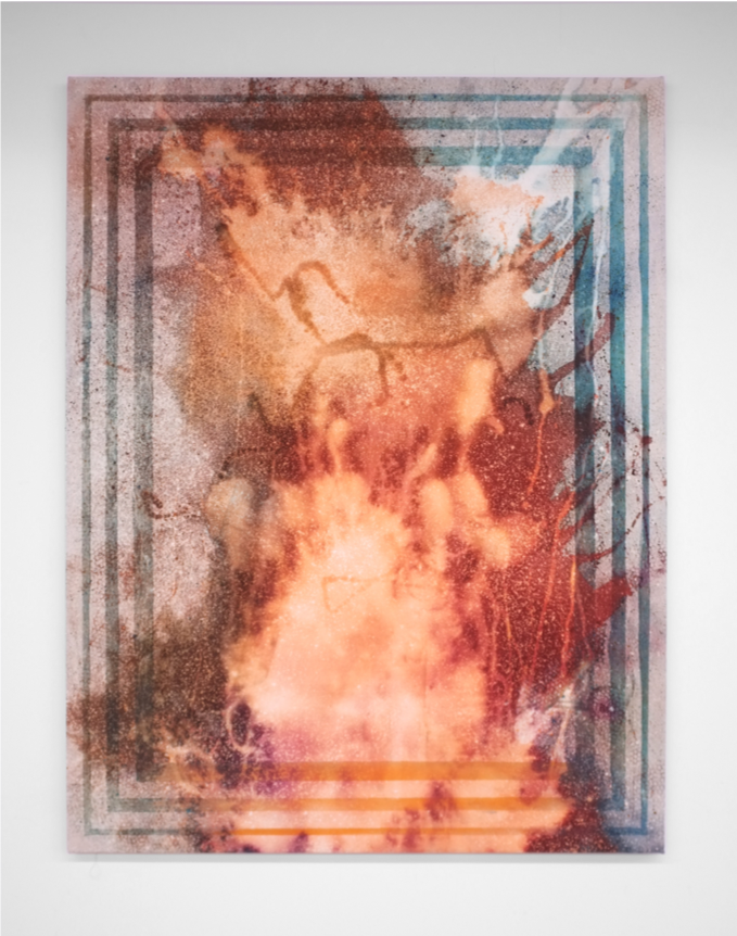 """Rainbow Cataclysm,  2019, Bleach Dye and Casein on Canvas, 60"""" x 48"""""""