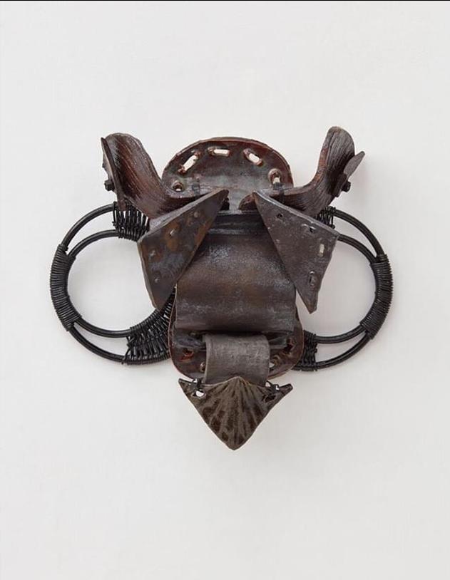 "Bushido ll,  2018, Glazed stoneware, zip ties and purse handles, 18"" x 15"" x 6"""