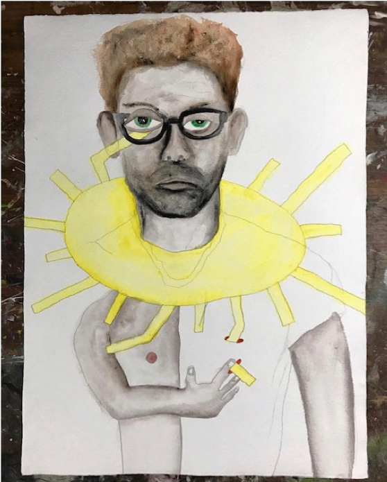 "Birdkeeper,  2019, Watercolor on paper, 30"" x22"""