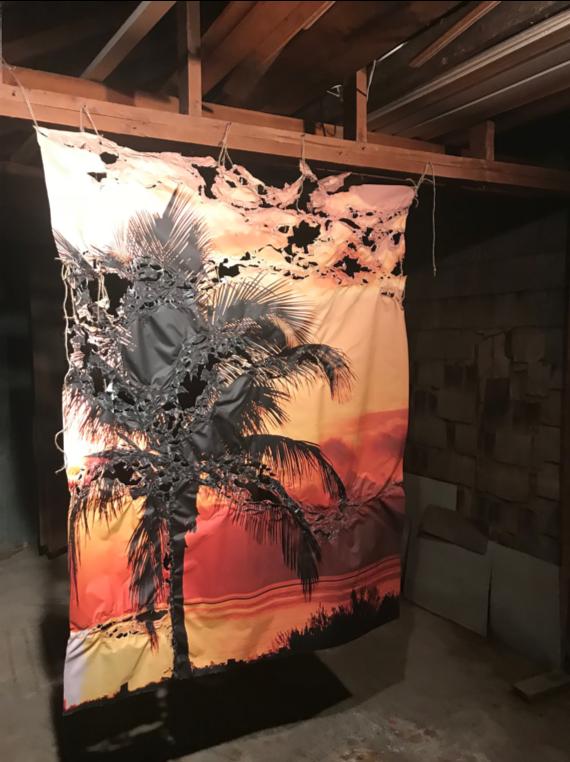 "Kokomo , 2018, Commercially manufactured wall mural manipulated by heat gun, 60"" x 50"""