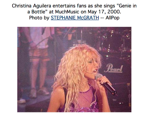 Here is a photo of Christina Aguilera I took a long, long time ago.