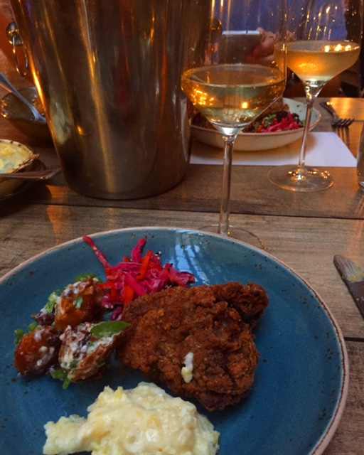 The fried chicken and champagne at Birds and Bubbles.