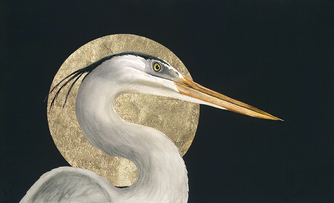Heron in Harvest Moon-With GOLD and No Signature-by Rebecca Kahrs-Orig.12x18.jpg