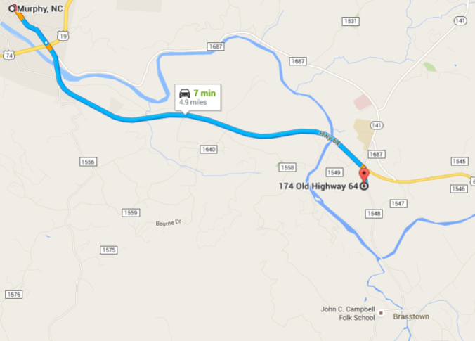We are located two hours east of Chattanooga, north of Atlanta and southwest of Asheville.  Our studio is one mile from the John C. Campbell Folk School and within five miles from Murphy, 12 miles from Hayesville.