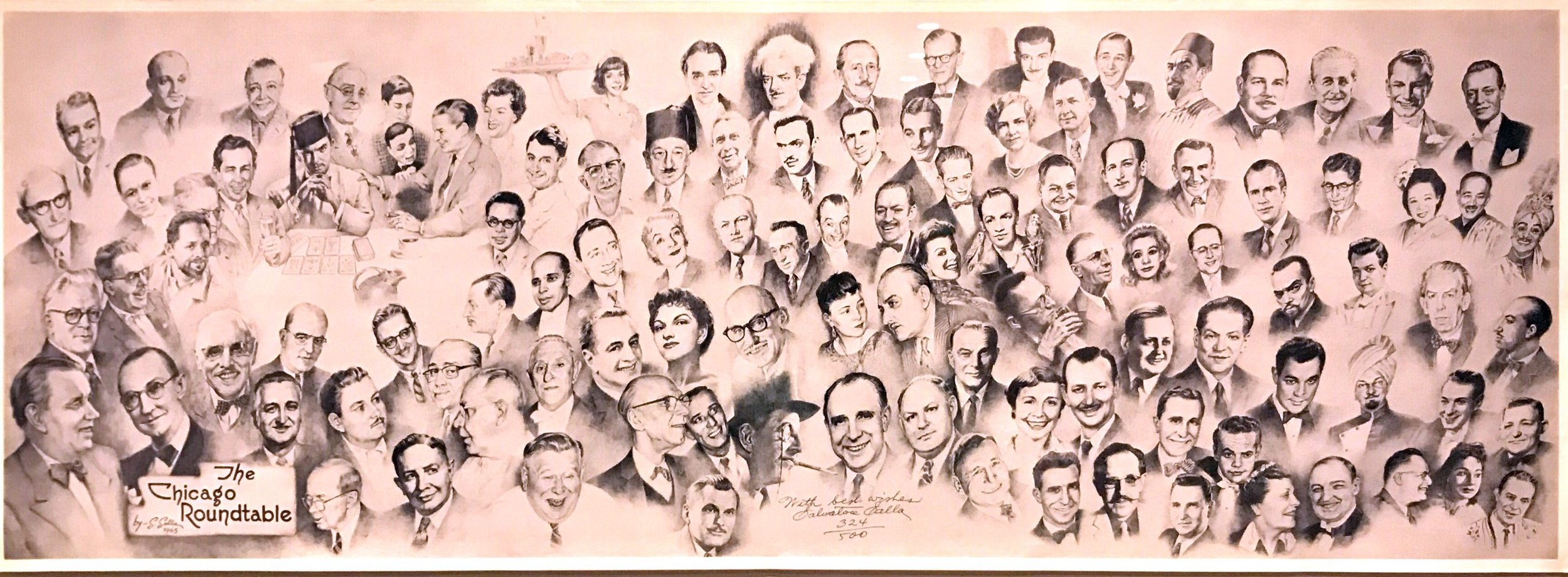Original Salvatore Salla print-signed and numbered, displaying the original members of the Chicago Round Table.