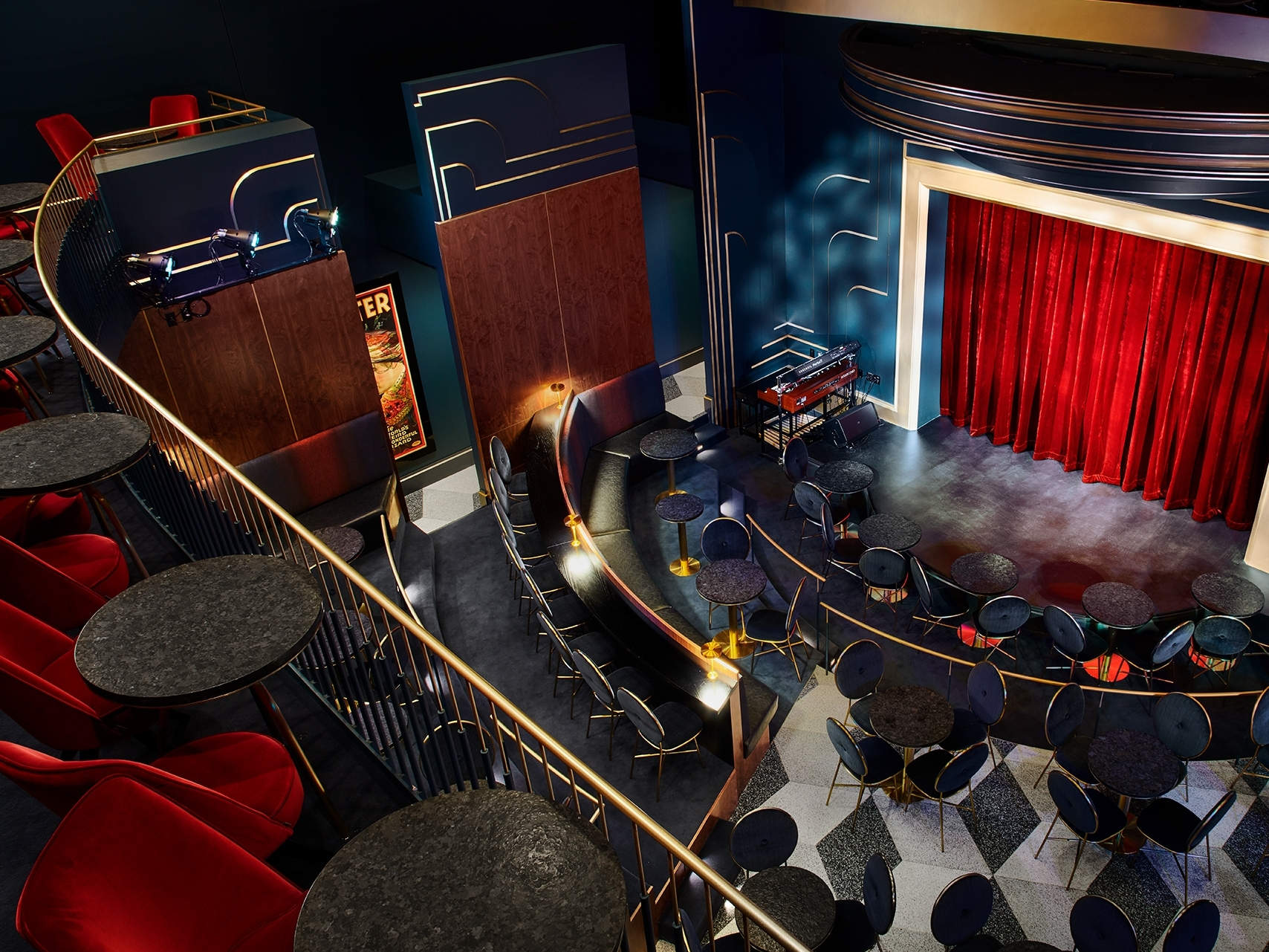 """The upper echelon of our Blackstone Cabaret, 16 perfect views of the stage and theater await. Rub elbows with members of the Round Table: our """"magic club"""" for magicians is just on the other side of the stairs."""