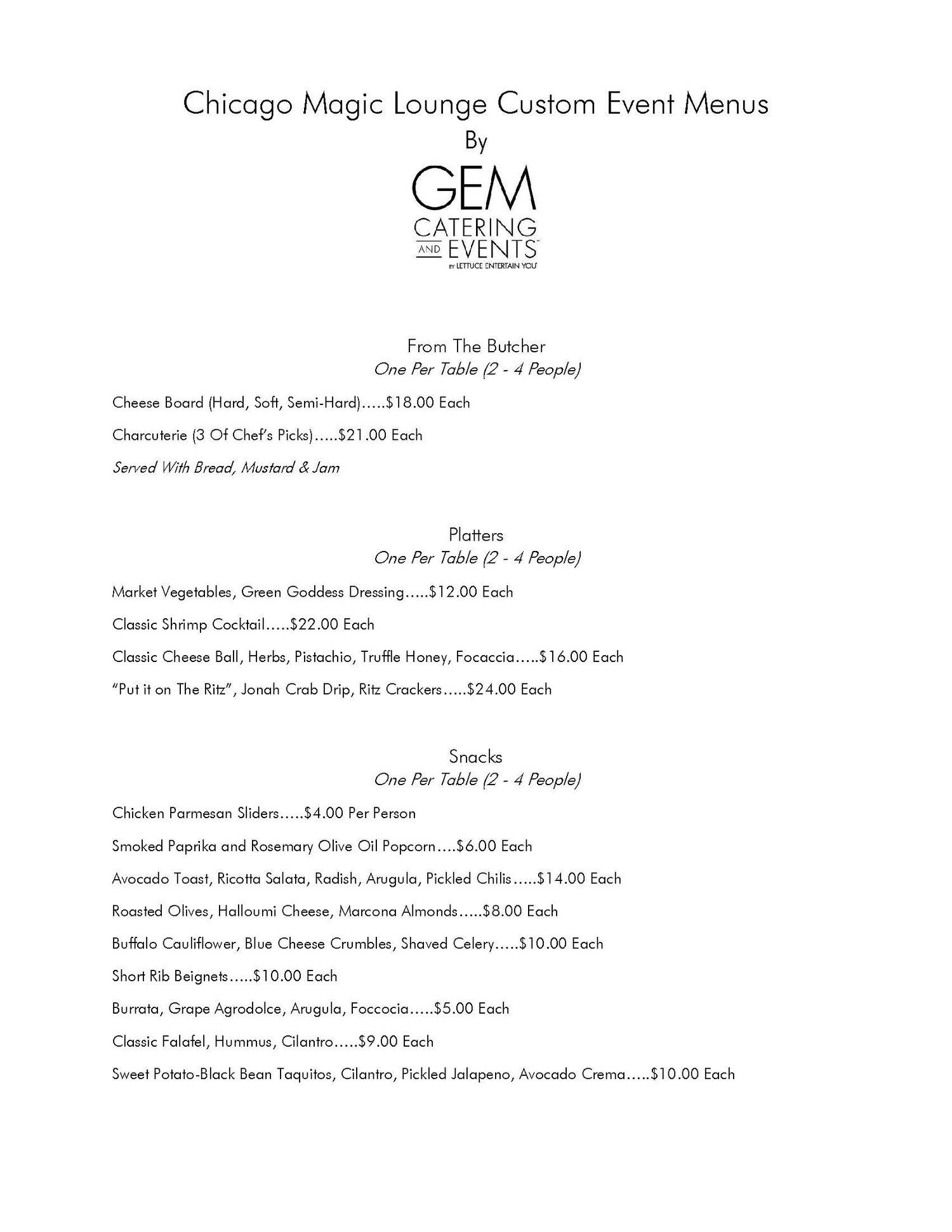 Sample catering options - page 1