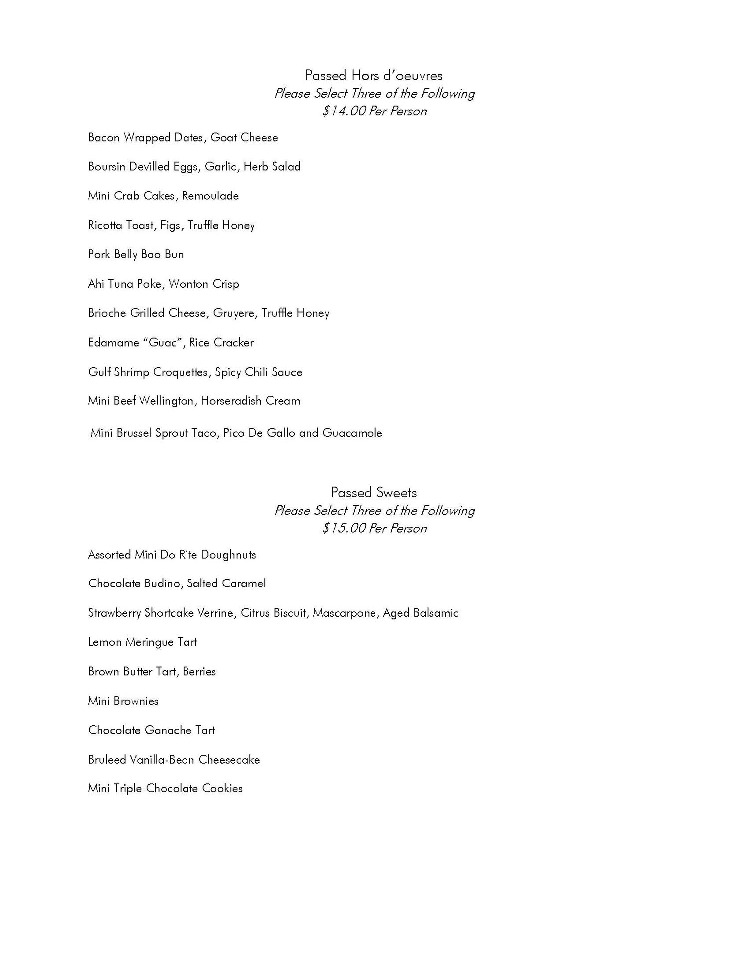 Sample catering options - page 2