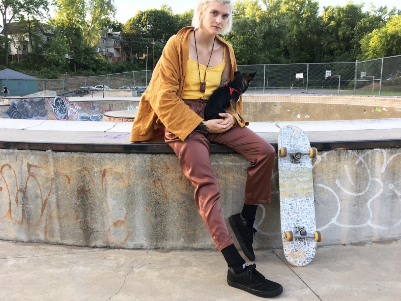 We had a fun shoot at the Northampton Skate Park! Featured here are three of our favorite brands. The silk pants are Baserange, topped with the Paloma Wool Palma II top in yellow, and the Atelier Delphine Haori Coat.