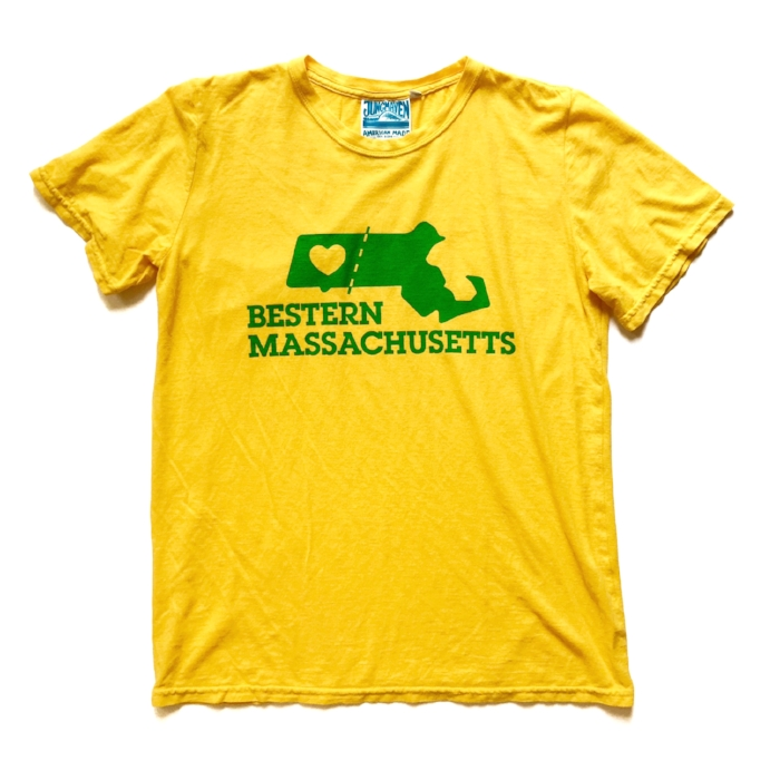 Our Bestern Massachusetts™ Tees are flying and putting Western, Massachusetts on the map. Since launching this design last Spring we have sold them to residents of more than 1/2 the US states, and a handful of visitors from Paris, London, and Greece. Each print run we do is a limited batch colorway, and always on tees from our friends at Jungmaven, whose tees are Made in LA from organic cotton and hemp. By trademarking Bestern Massachusetts™ we have secured the ability to make sure this phrase never finds it way on a tee made in a sweatshop 1/2 way around the world.