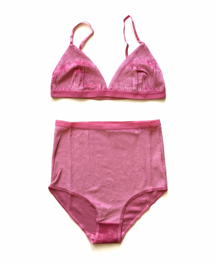 """New Baserange styles have landed, including a few special underwear styles. These new """"Baker Pink"""" velours seem to be everyones favorite already. We're doing an in-store special to kick off the season; buy a Baserange bra and get the matching underwear 25% off."""