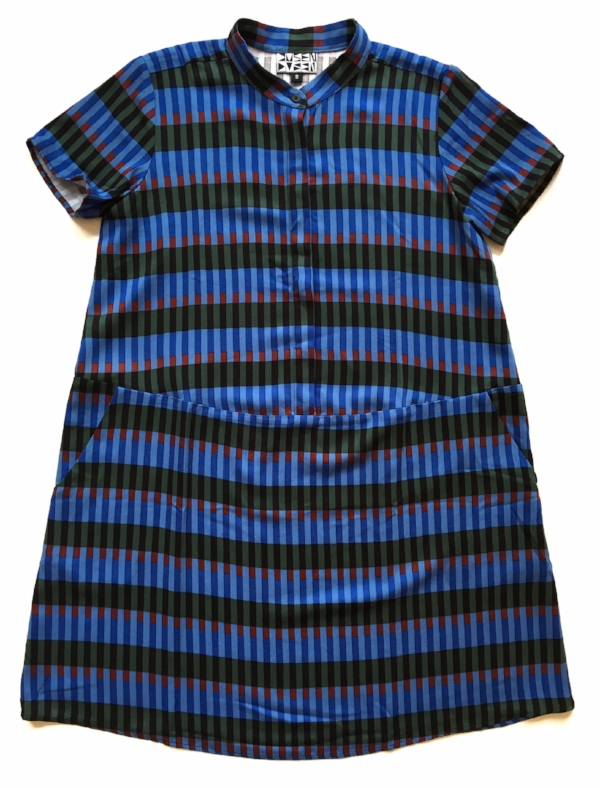 """New Dusen Dusen styles have landed! This is the Oversize Tee Dress in the new """"Game"""" pattern. Made in the USA!"""