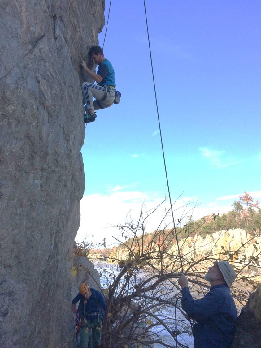 Erik climbing backscratcher along Great Falls, Virginia side.