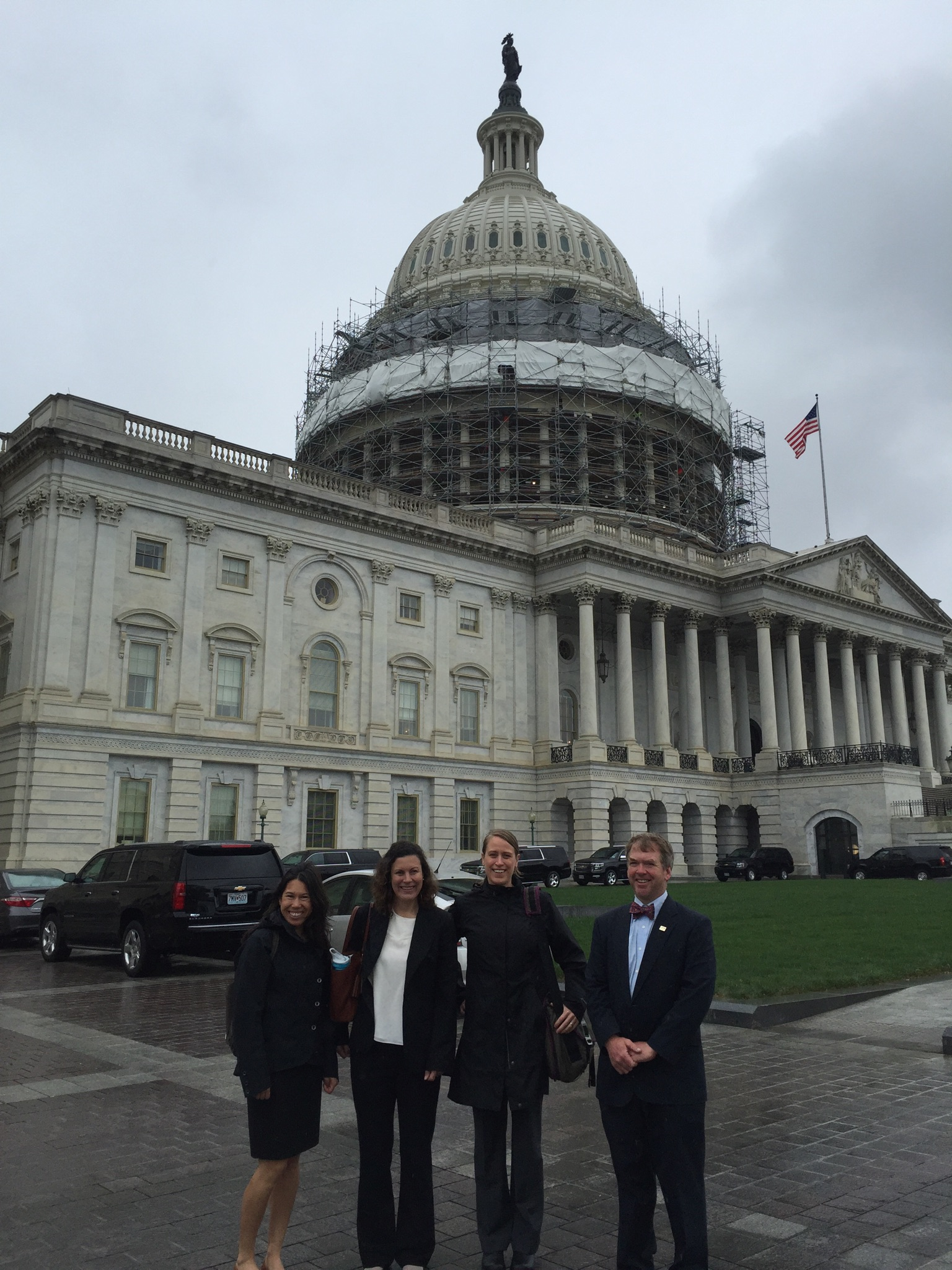 Representatives from SuperFeet, REI, The Mountaineers, and American Whitewater working together to talk with Washington DC lawmakers about outdoor recreation.  Photo credit: Katherine Hollis.