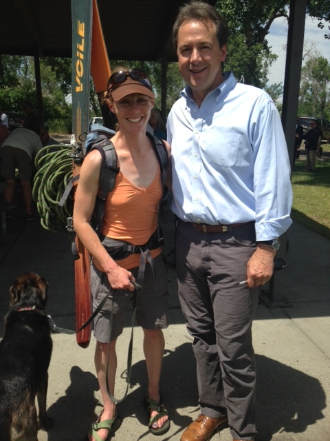 Outdoor Alliance Montana leader, Hilary Eisen, showing off her recreation passions with Governor Bullock at yesterday's announcement.