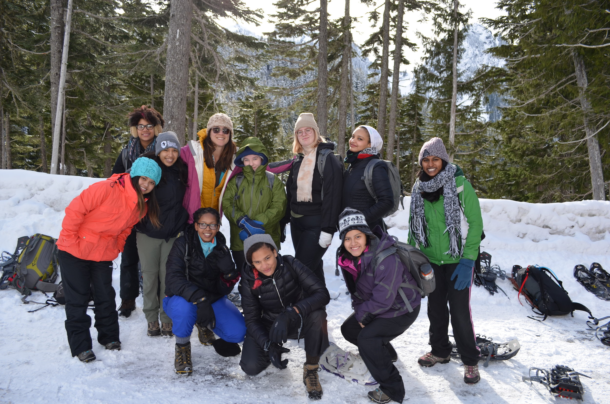 The Mountaineers and Young Women Empowered enjoy a snowshoe trip at Mount Rainier. Young Women Empowered is one of many local youth-serving agencies we partner with through our Mountain Workshops, a program committed to sharing the outdoors with young people. Photo credit: Margaux Gottlieb