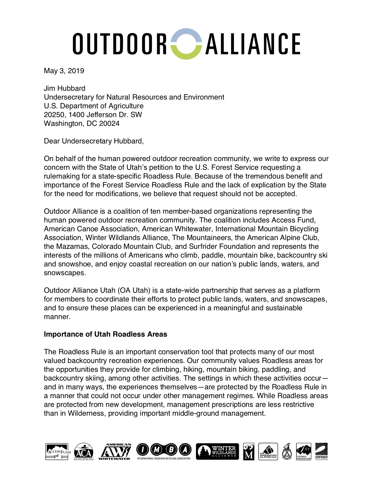 Click to read the whole letter to Undersecretary Hubbard