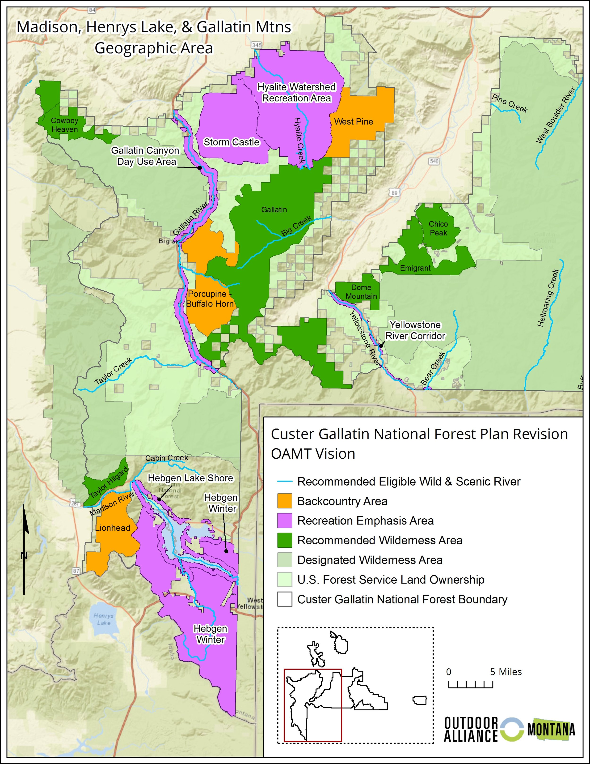 Maps of OA Montana's vision for the Custer Gallatin National Forest.