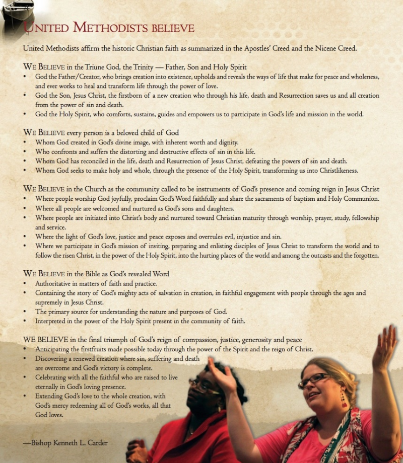 Click for a general statement of United Methodist beliefs