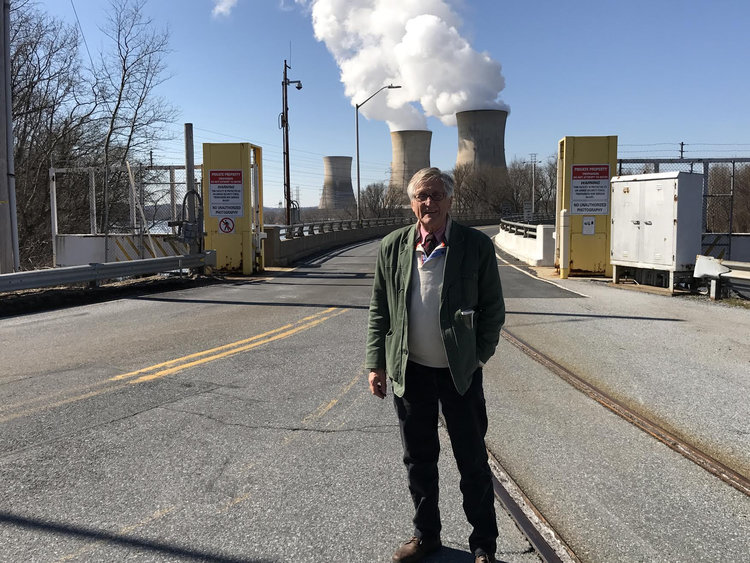 Arnie at the entrance to Three Mile Island in Pennsylvania.