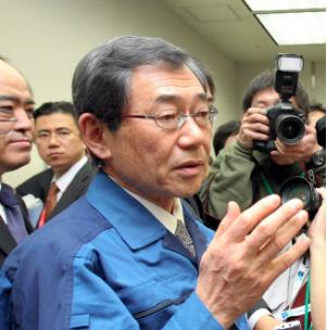 Former Tokyo Electric Power Co. President Masataka Shimizu (Asahi Shimbun file photo)